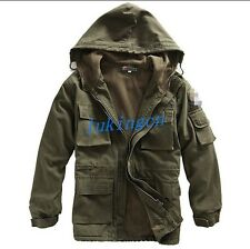 NEW Mens Military Coat Thicken Fleece Jacket Army Hooded Outwear Outerwear M-3XL