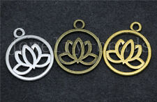 New 8/40/200psc Tibetan Silver Exquisite Lotus Jewelry Charms Pendant 24x20mm