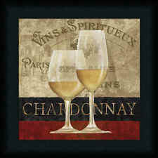 Chardonnay Conrad Knutsen 12x12 French Wine Sign Art Print Framed Picture
