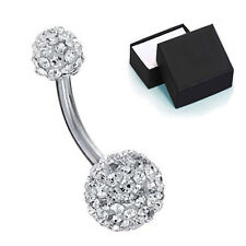 Belly Button Navel Ring 14G Bling Disco Ball Clear Crystal FREE Retainer Gift