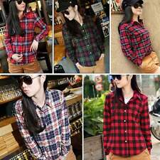 New Button Down Plaid&Checks Flannel Casual Lapel Shirt Women Shirt Tops Blouse