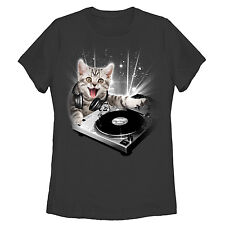 Lost Gods DJ Space Kitten Womens Graphic T Shirt