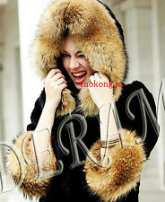 Denmark Genuine Real Raccoon/fox fur Pelt Cuffs Hood Edge Scarf Collar Match Set