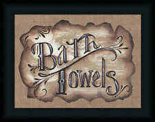 Bath Towels Michele Musser 12x16 Country Bathroom Sign Framed Art Print Picture