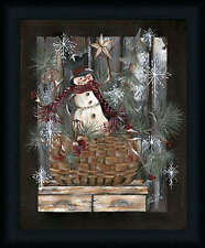 Snowman Basket 20x16 Primitive Folk Art Snowman Framed Art Print Picture