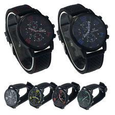 New Luxury Mens Stainless Steel Sport Watch Analog Quartz Rubber Wrist Watch GT