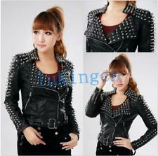 Rock Women's Studded Spikes PU Leather PUNK Biker Motorcycle Jacket Coat Outwear