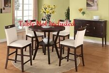 Modern Design Cream Colored Parson Counter Height Dining Chairs Espresso Finish