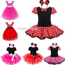 Kids Girl Baby Toddler Minnie Mouse Costume Party Fancy Tutu Dress Up + Headband