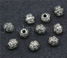 New 10/50/260pcs Tibetan Silver Beautiful Circular Charms Spacer Beads DIY 7x6mm