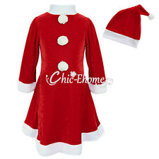 Girls Christmas Santa Claus Costume Dress with Hat Toddler Child Clothing Outfit