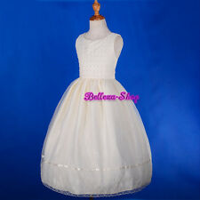 Ivory Beaded Embroidery Dress Wedding Flower Girl Pageant Communion 7-12 FG241