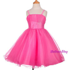 Rhinestones Hot Pink Tulle Pageant Dress Wedding Flower Girl Party Sz 2T-8 FG284