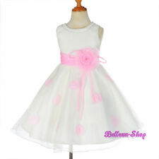 Rhinestone Ivory Pink Petals Dress Wedding Flower Girl Party Size 2T-10 FG294