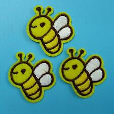 3 Bee Insect Iron on Sew Patch Applique Badge Embroidered Biker Applique Cute
