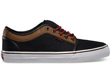 VANS CHUKKA LOW LEATHER BLACK BROWN SKATEBOARDING CASUAL CANVAS