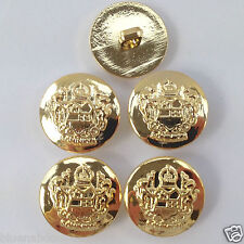 5 x military buttons gold colour  15mm 18mm 21mm like coat of arms shank on back