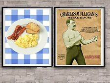Ron Swanson Breakfast Poster Charles Mulligans Steakhouse Office Prop Gift Set