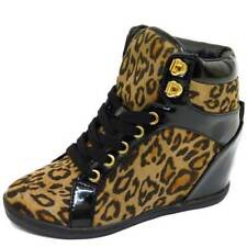 GIRLS KIDS LEOPARD PRINT LACE-UP WEDGE TRAINER ANKLE BOOTS SHOES SIZES 12-5
