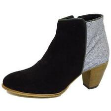 LADIES BLACK SILVER SUEDE LEATHER ANKLE BIKER CHELSEA ZIP-UP BOOTS SHOES SIZE 3