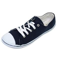 LADIES NAVY CANVAS FLAT TRAINER PLIMSOLL PUMPS LACE-UP CASUAL SHOES SIZE 3-8