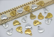 New 5/20/100pcs Antique Silver Chic Family Peach heart Charms Pendant 18x14mm