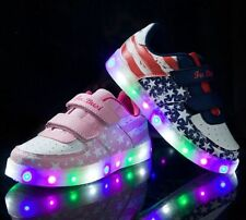 New Boys Girls Colorful LED Light Up Sports Velcro Kids Sneakers Casual Shoes@37