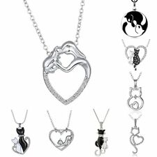 New Women Cute Black&White Cats Animal Love Heart Crystal Chain Necklace Pendant