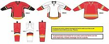 Reebok Calgary Flames Edge Gamewear Uncrested 25P00 Jersey + SX100 Socks - New!