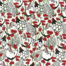 Happy Hens Chickens Poppies Flowers Floral 100% Cotton Fabric