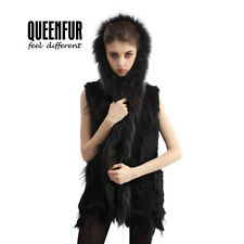 Queenfur Real Knit Rabbit Fur Hooded Vest Natural Raccoon Fur Winter Waistcoat