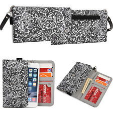 Women's Universal Lovely Lace Wristlet Wallet Clutch Cover Case for 6.1""