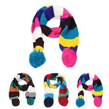 Child Baby Stitching Scarf Colors Knit Boys Girls Scarf Hairball Neck Warmer Hot