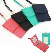Leather Necklace Strap Card ID Window Holder Badge Wallet Purse Mirror Travel