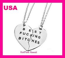 BEST F-NG BITCHES Large Friend Heart 2pcs Silver Plated Charm BF Necklaces USA