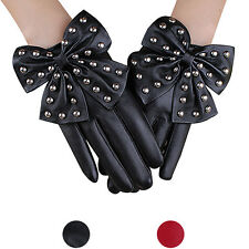 Fashion Women Leather Rivet Gloves Casual  Winter Super Warm Gloves Cashmere New