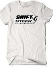 Shift and Steer Podcast Logo T Shirt WHITE Cotton Cars Rat Rods Musclecars Race