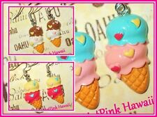 Two scoop Ice Cream Cone Hearts Retro Funky Dangle Silver Plated Earrings USA