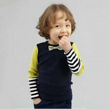 2-7Years Kids Boy Long Sleeve T-shirt Bowtie Stripe Cotton Long Sleeve Top Hot