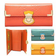 Quality Genuine Leather Ladies Womens Tri-Fold Wallet Zip Purse Multi Pocket New