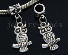 6/30/100pcs Tibetan Silver owl Bulk Lots Dangle Jewelry Charms Bracelet 20x13mm