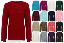 NEW WOMENS BAGGY FIT KNITTED JUMPER CHUNKY LADIES LOOSE THICK PLAIN SWEATER 8-14
