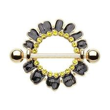 Adorable Black Daisy Yellow CZ Nipple Shield Ring with Gold Barbell( 14 g )