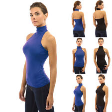 Womens Ladies Halter Neck Fitted Vest Top Evening Going Out Party Tops Shirts