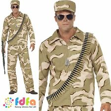 """COMMANDO CAMO SOLDIER MILITARY ARMY - 38""""-44"""" chest - mens fancy dress costume"""
