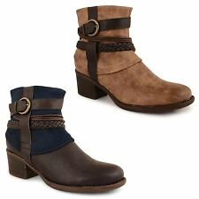 Ladies Womens Mid Block Heel Buckle Fashion Chelsea Ankle Boots Shoes Size