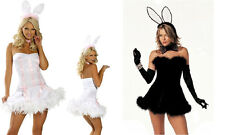 NEW WOMENS LADIES SEXY PLAYBOY BUNNY FANCY DRESS COSTUME  OUTFIT EASTER DRESS