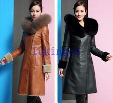 New Womens Sheep Leather Jacket Real FOX FUR COAT Long Parka Trench Coat Outwear