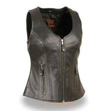 WOMENS MOTORCYCLE BLACK LEATHER VEST w/ ZIPPER & CONCEALED GUN POCKETS - SA31