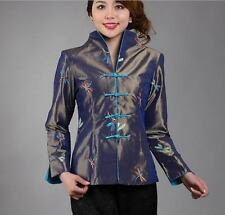 Gray red Chinese Women's silk embroidery jacket /coat Cheongsam Sz 8 10 12 14 16